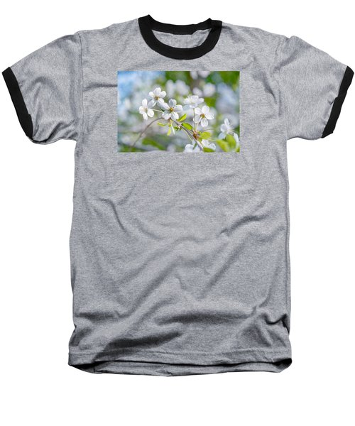 Baseball T-Shirt featuring the photograph White Cherry Blossoms In Spring by Alexander Senin