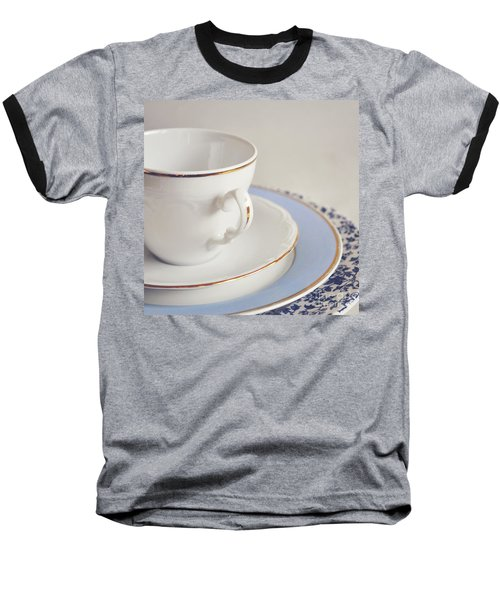 Baseball T-Shirt featuring the photograph White China Cup, Saucer And Plates by Lyn Randle