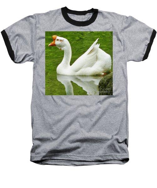 White Chinese Goose Baseball T-Shirt by Susan Garren