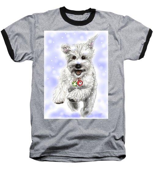 White Christmas Doggy Baseball T-Shirt by Heidi Kriel