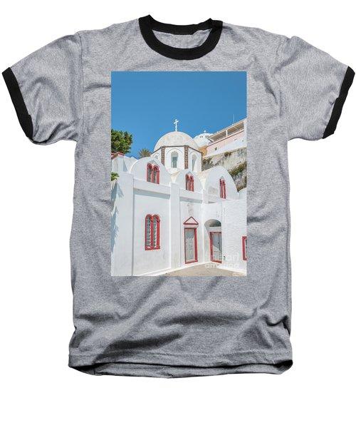 Baseball T-Shirt featuring the photograph White Church At Fira by Antony McAulay