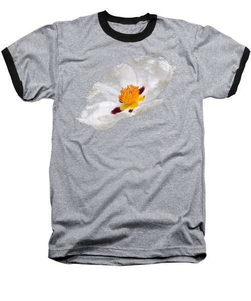 White Cistus Baseball T-Shirt by Gill Billington