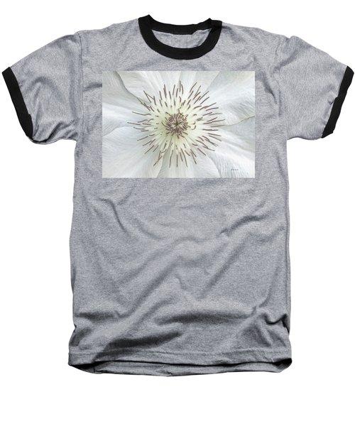 White Clematis Flower Garden 50121b Baseball T-Shirt