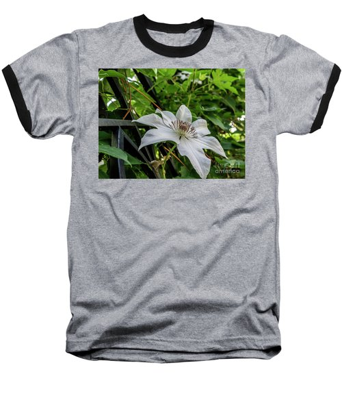 White Clematis Flower Garden 50129 Baseball T-Shirt