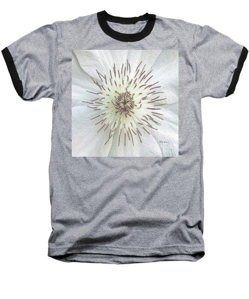 White Clematis Flower Macro 50121c Baseball T-Shirt