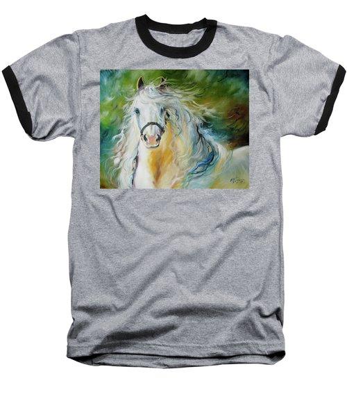 White Cloud The Andalusian Stallion Baseball T-Shirt by Marcia Baldwin