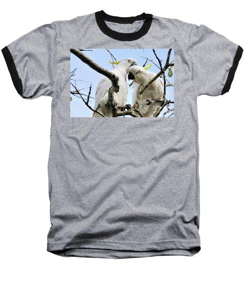 White Cockatoos Baseball T-Shirt by Kaye Menner
