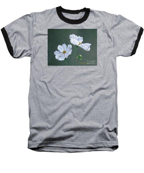 White Cosmos Baseball T-Shirt by Phyllis Howard