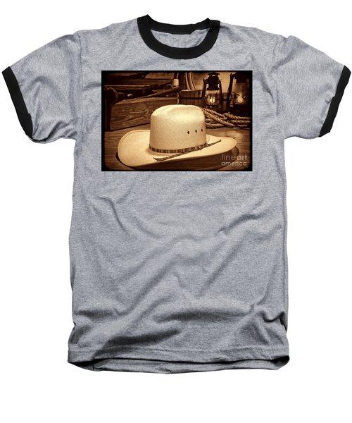 White Cowboy Hat In A Barn Baseball T-Shirt