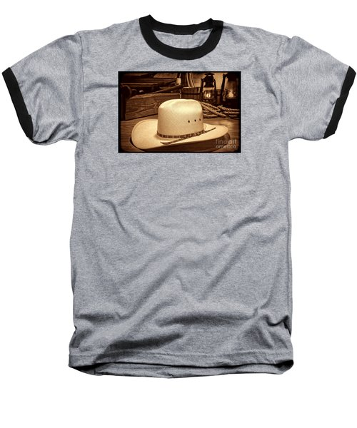 White Cowboy Hat In A Barn Baseball T-Shirt
