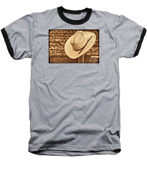 White Cowboy Hat On Fence Baseball T-Shirt by American West Legend By Olivier Le Queinec