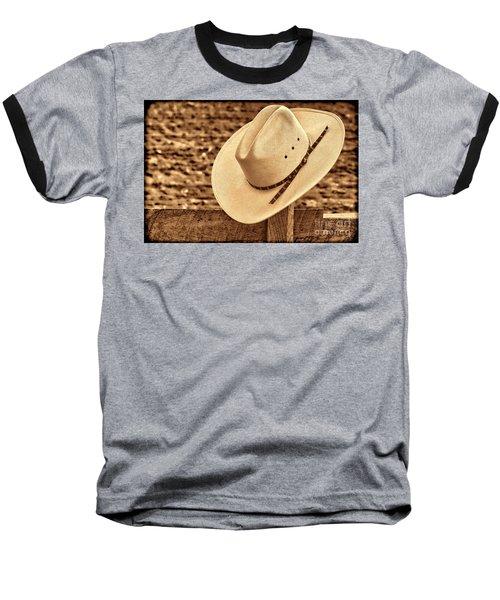 White Cowboy Hat On Fence Baseball T-Shirt