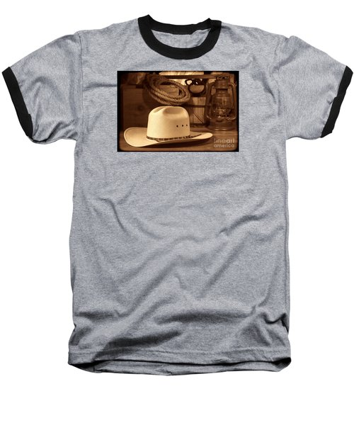 White Cowboy Hat On Workbench Baseball T-Shirt by American West Legend By Olivier Le Queinec