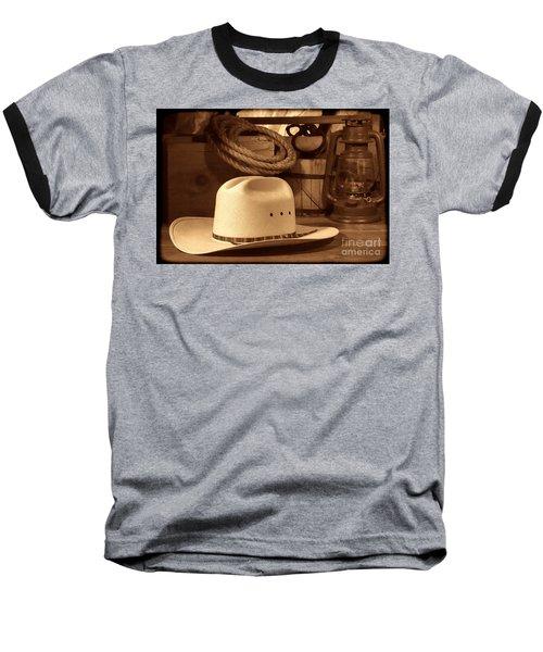 White Cowboy Hat On Workbench Baseball T-Shirt