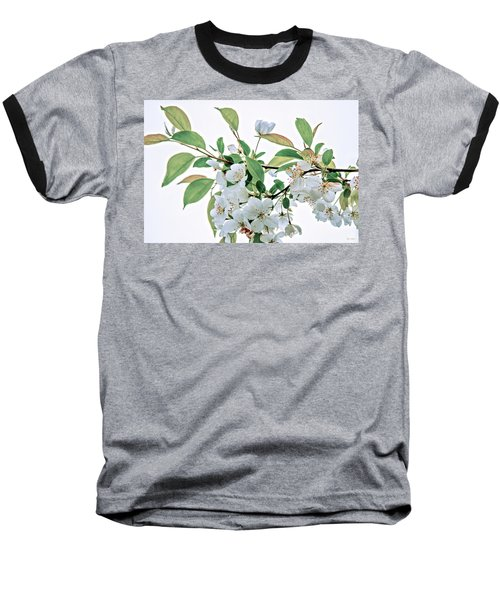 Baseball T-Shirt featuring the photograph White Crabapple Blossoms by Skip Tribby