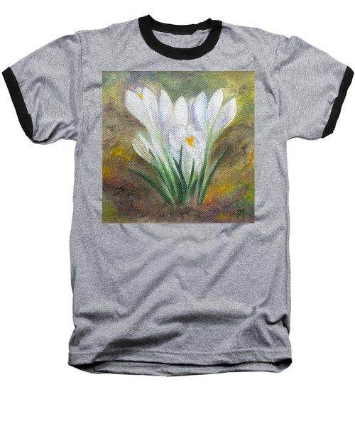 White Crocus Baseball T-Shirt