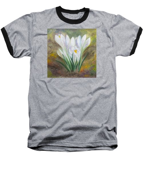 White Crocus Baseball T-Shirt