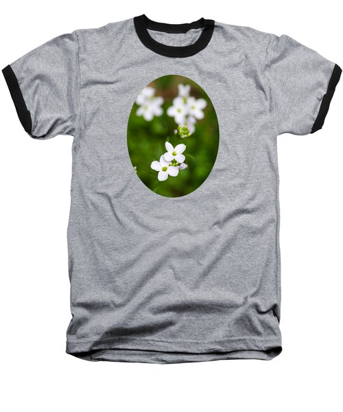 White Cuckoo Flowers Baseball T-Shirt by Christina Rollo