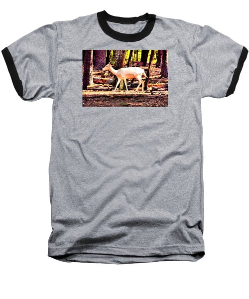 White Deer And Forest Stroll Baseball T-Shirt