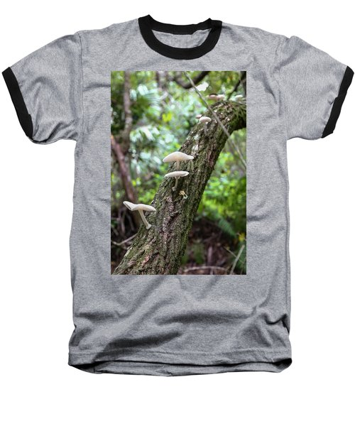 White Deer Mushrooms Baseball T-Shirt by Christopher L Thomley