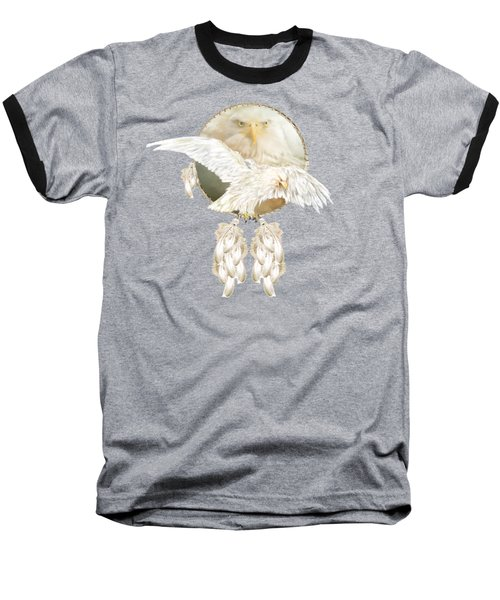 Baseball T-Shirt featuring the mixed media White Eagle Dreams by Carol Cavalaris
