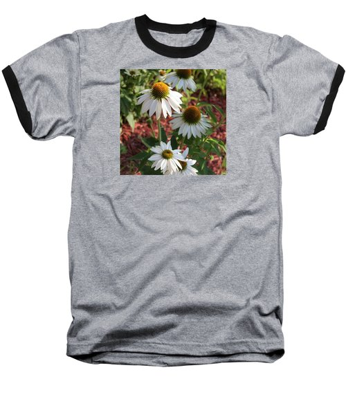 Baseball T-Shirt featuring the photograph White Echinacea by Suzanne Gaff