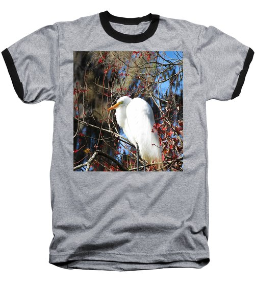 White Egret Bird Baseball T-Shirt