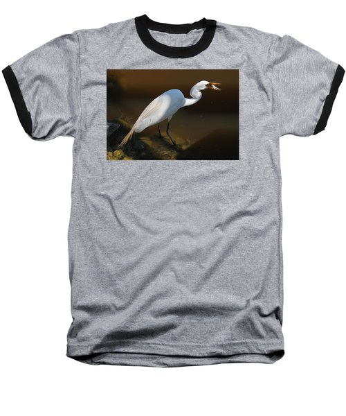 White Egret Fishing For Midday Meal II Baseball T-Shirt by Suzanne Gaff
