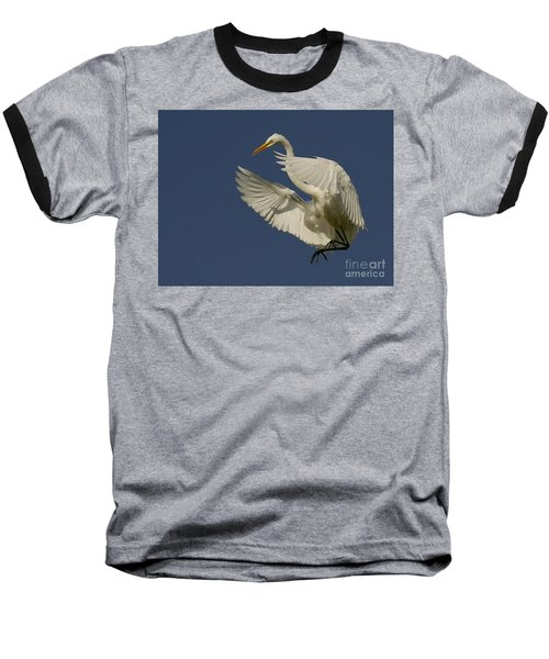White Egret Flight Baseball T-Shirt