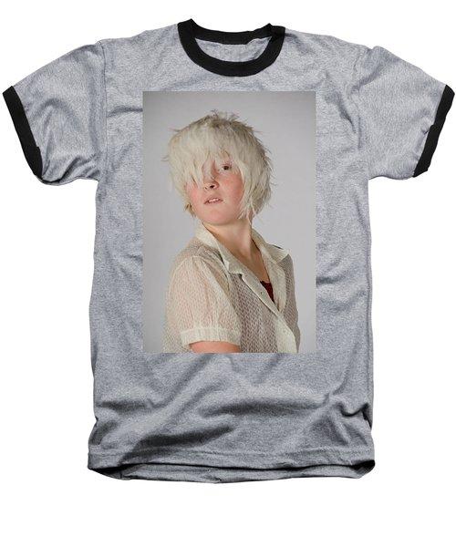 White Feather Wig Girl Baseball T-Shirt