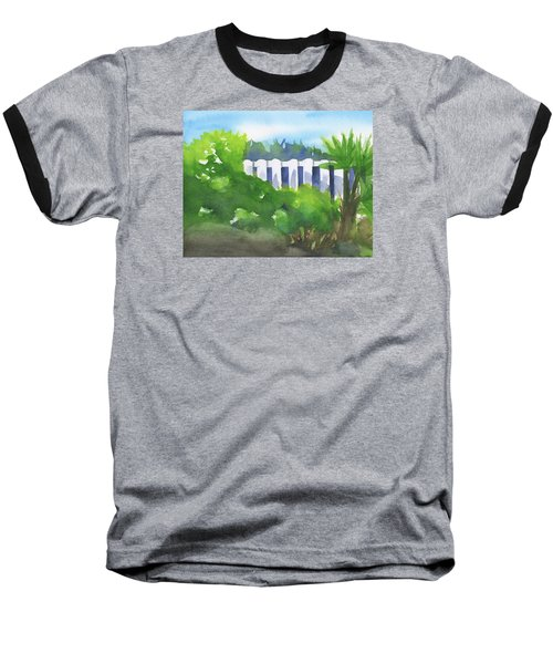 White Fence  Baseball T-Shirt by Frank Bright