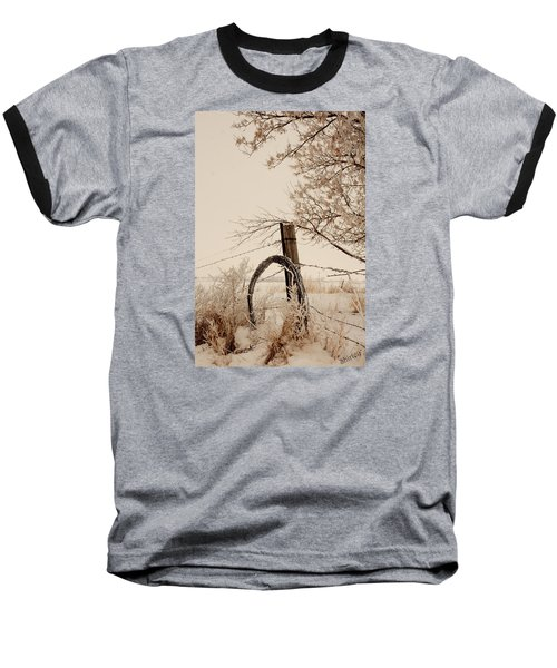 Baseball T-Shirt featuring the photograph White Fence by Shirley Heier