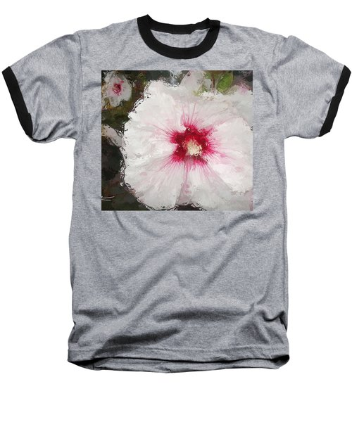 Baseball T-Shirt featuring the painting White Flower by Joan Reese