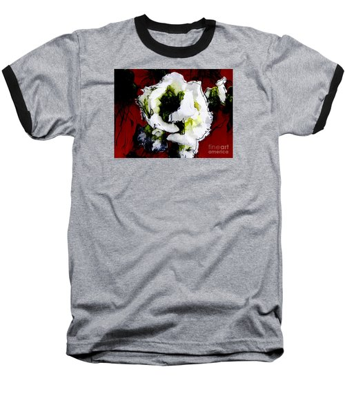 White Flower On Red Background Baseball T-Shirt by Craig Walters