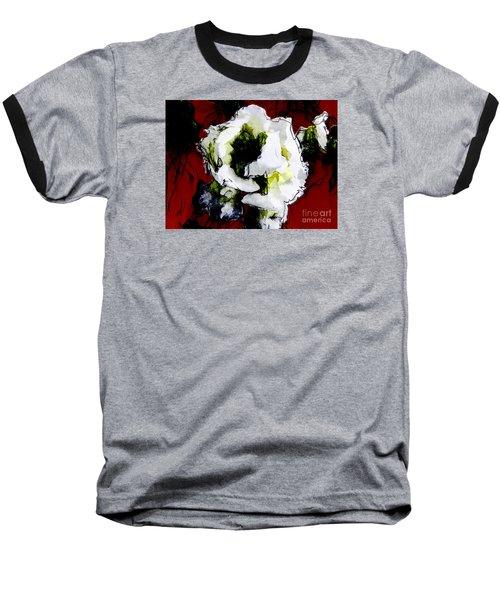 White Flower On Red Background Baseball T-Shirt