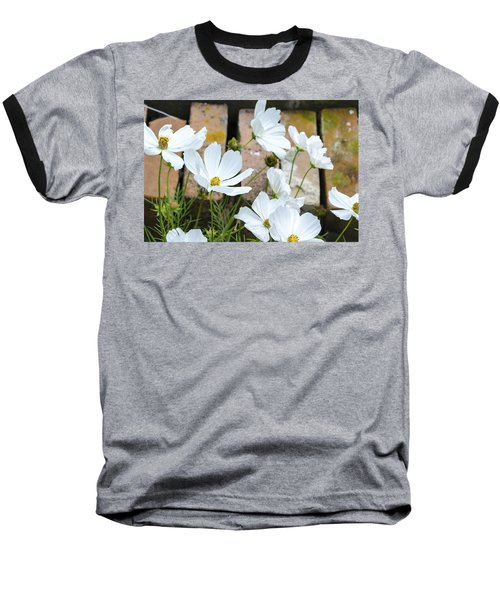 White Flowers Against Bricks Baseball T-Shirt