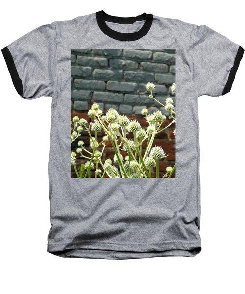White Flowers And Bricks Baseball T-Shirt by Susan Lafleur
