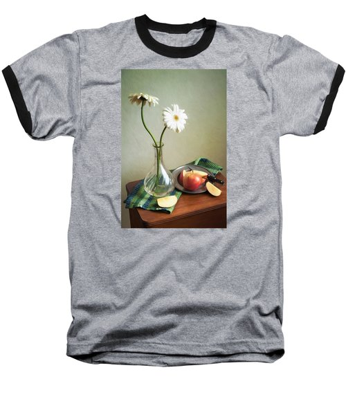 White Flowers And Red Apples Baseball T-Shirt