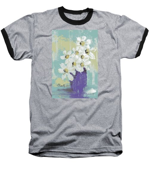 White Flowers Baseball T-Shirt by P J Lewis
