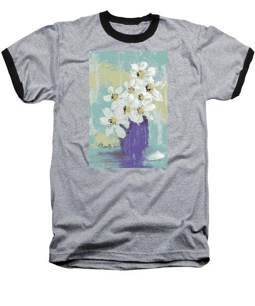 White Flowers Baseball T-Shirt by P J Lewis
