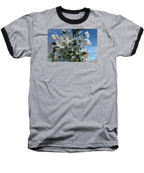 White Flowers - Variation 2 Baseball T-Shirt