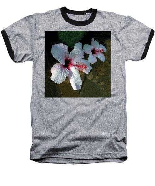 White Hibiscus Pair Baseball T-Shirt