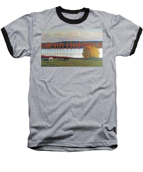 White Horse Black Horse Baseball T-Shirt by Laurie Stewart