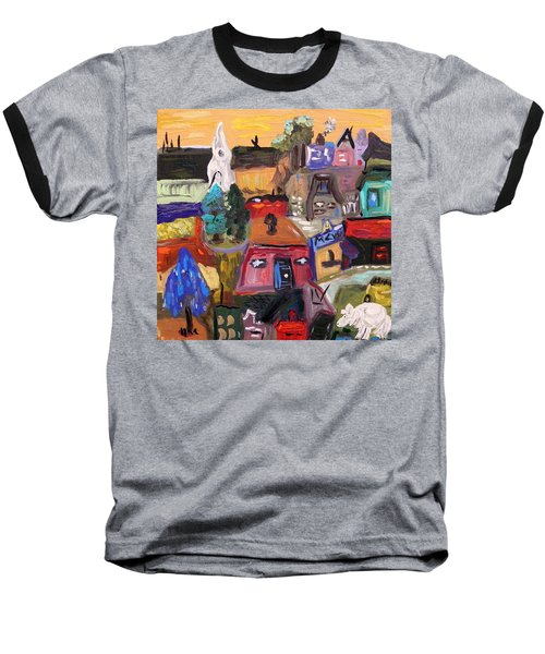 White Horse In The Village Field Baseball T-Shirt by Mary Carol Williams