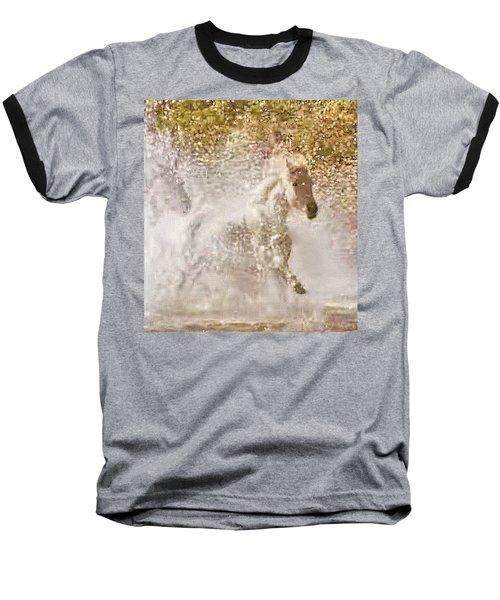 White Wild Horse In Water Baseball T-Shirt