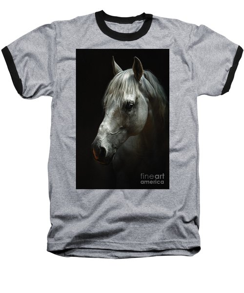 White Horse Portrait Baseball T-Shirt
