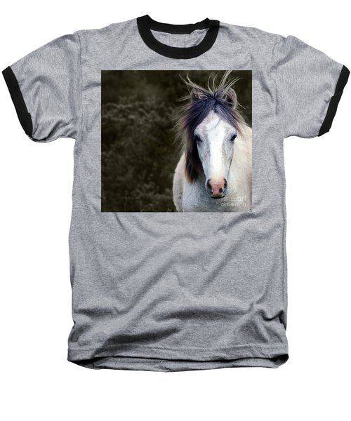 Baseball T-Shirt featuring the photograph White Horse by Sebastian Mathews Szewczyk