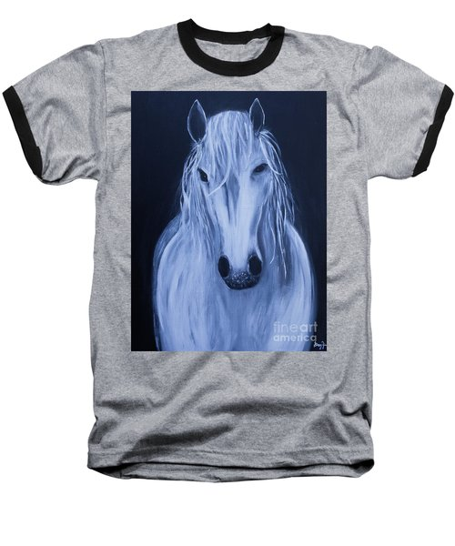 Baseball T-Shirt featuring the painting White Horse by Stacey Zimmerman
