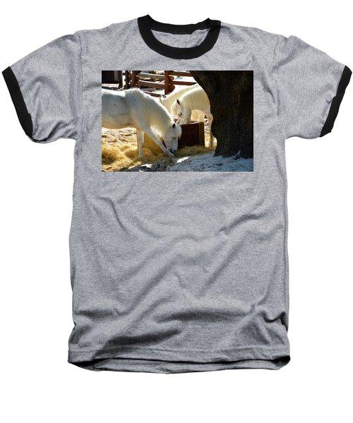Baseball T-Shirt featuring the photograph White Horses Feeding by David Lee Thompson