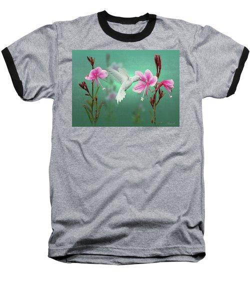 White Hummingbird And Pink Guara Baseball T-Shirt